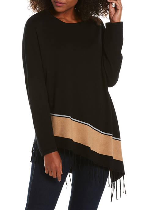 Womens Asymmetric Fringe Hem Sweater