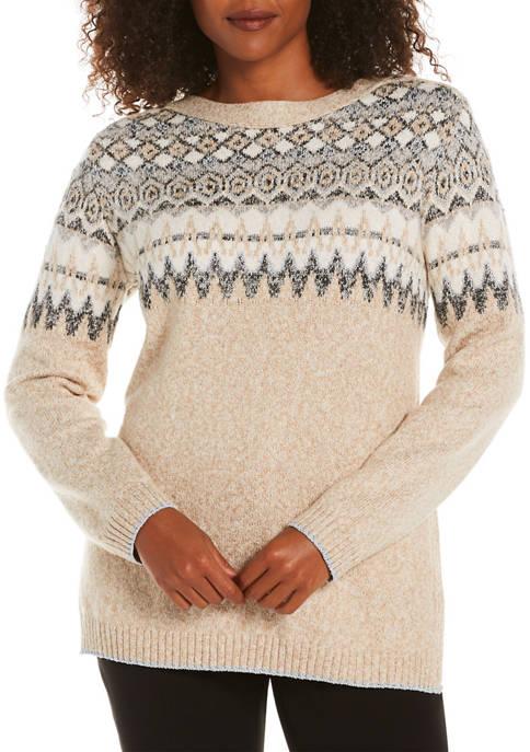 Womens  Fair Isle Tunic Sweater