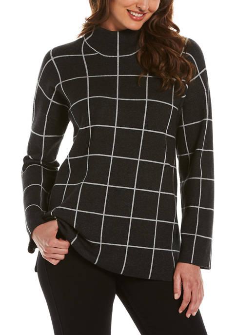 Womens Windowpane Tunic Sweater