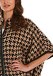 Womens Houndstooth Poncho Sweater