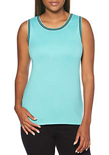Solid Shell Knit Top with Tipping