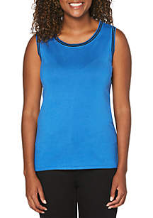 Rafaella Solid Shell Knit Top with Tipping