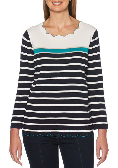 Womens Flare Sleeve Tipped Scallop Sweater