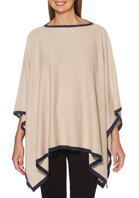 Womens Solid Tipped Poncho