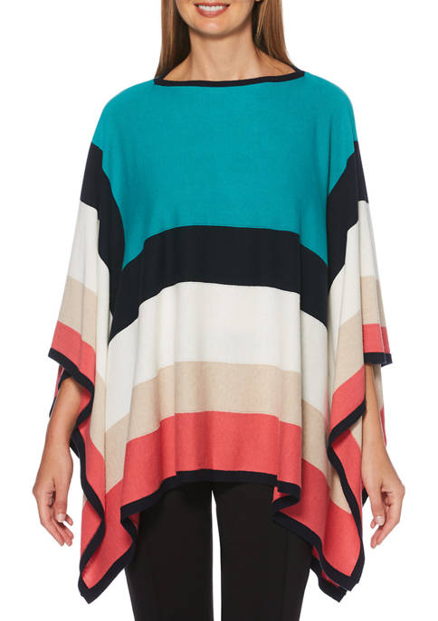 Womens Color Block Poncho