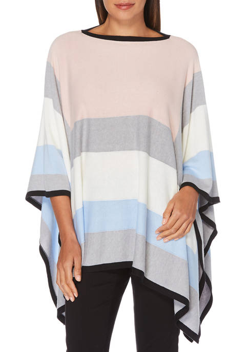 Womens Color Blocked Poncho