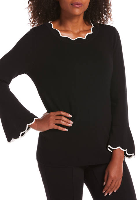 Womens Flare Sleeve Scallop Sweater