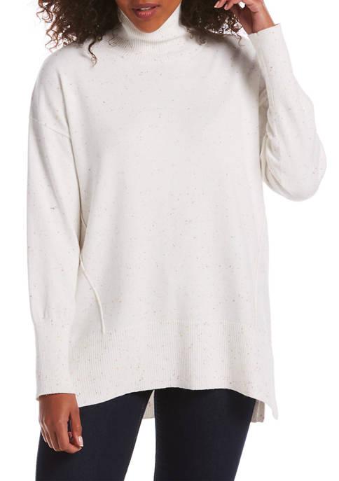 Womens Long Sleeve Mock Neck Oversized Tunic