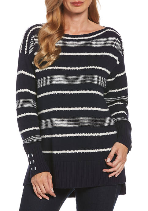 Womens Long Sleeve Stripe Boat Neck Sweater