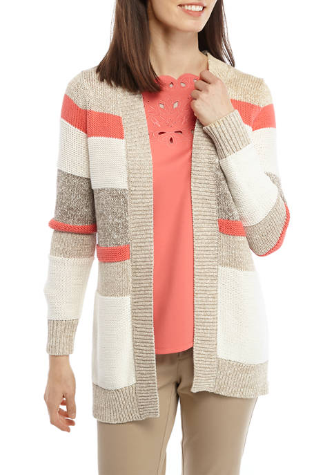 Womens Long Sleeve Mixed Stripe Sweater Cardigan