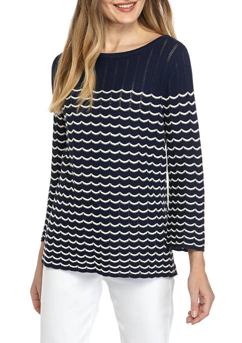 Womens Scallop Pullover Sweater
