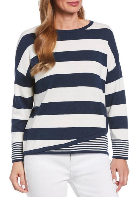 Womens Mixed Stripe Sweatshirt