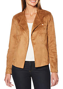 Stretch Faux Suede Moto Jacket