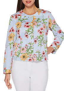Rafaella Floral Stripe Printed Jacket
