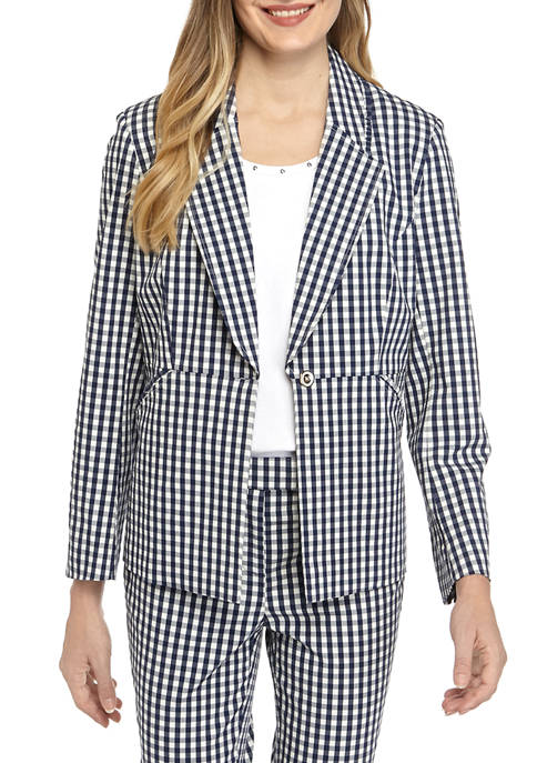 Womens Thick Gingham Long Sleeve Blazer