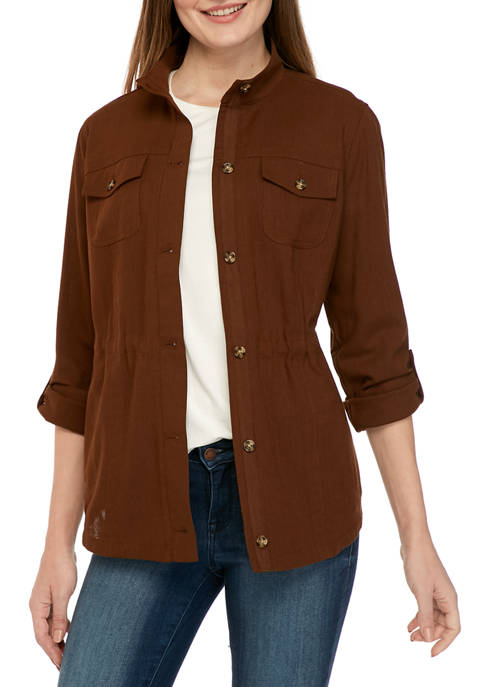 Rafaella Womens Roll Tab Sleeve Jacket