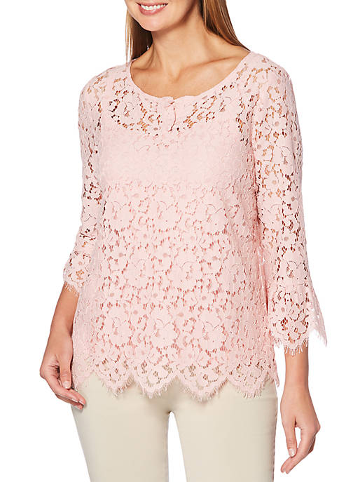 Rafaella Lace Knit Top