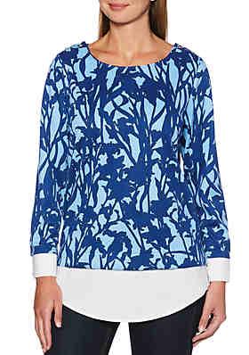953a571576c5 Rafaella Printed Floral Sweater ...