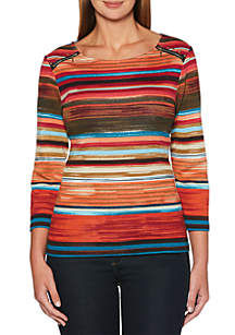 Textured Stripe Printed Top