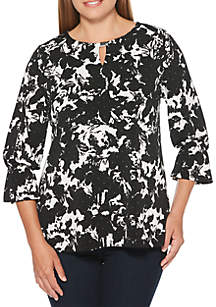 Abstract Floral Printed Juliet Top