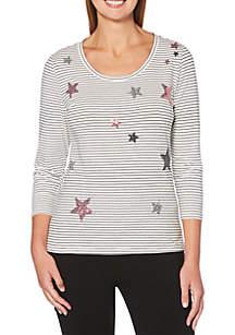 Star and Stripe Print Tee