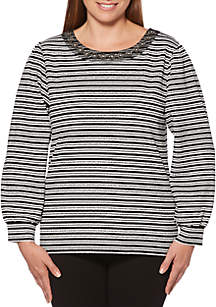 Rafaella Striped Texture Blouse