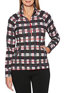 Golf Plaid Print Long Sleeve Pullover
