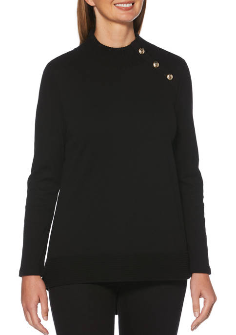 Womens Mock Neck Crest Button Pullover