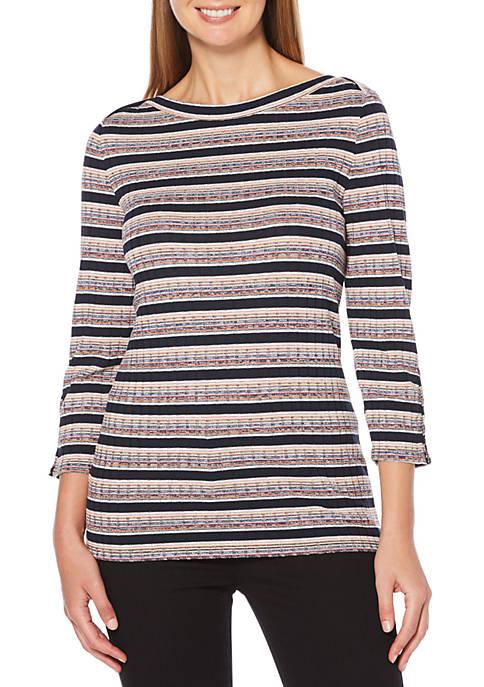 Womens Yarn Dyed Long Sleeve Top