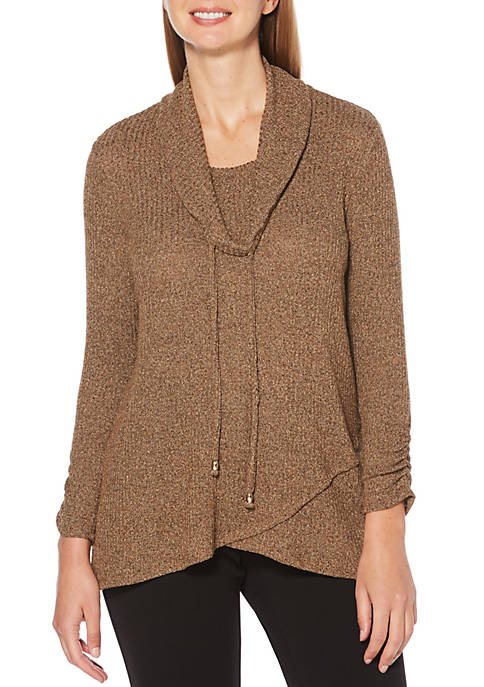 Womens Marled Cowl Neck Tunic