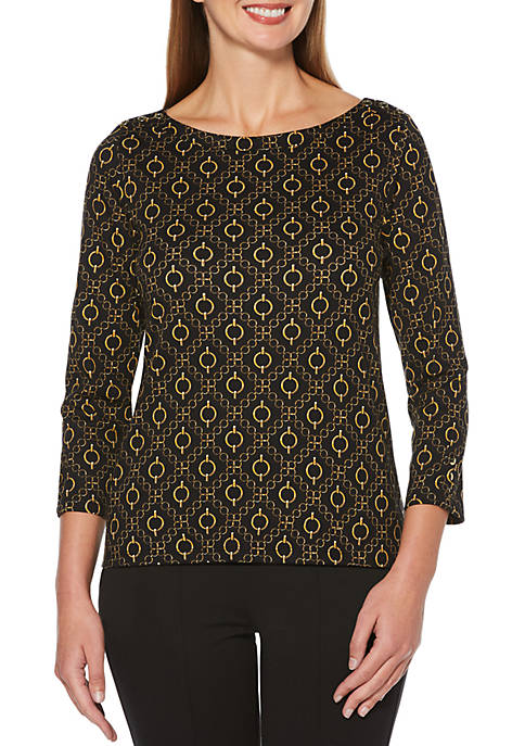Womens Allover Chain Printed 3/4 Sleeve Top