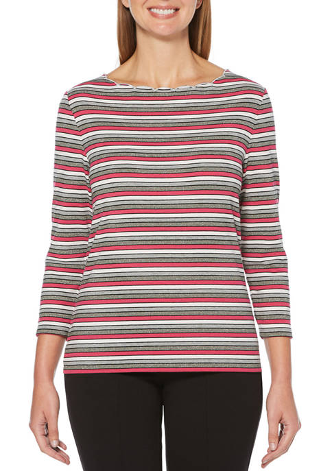 Womens Stripe Scallop Neck T-Shirt