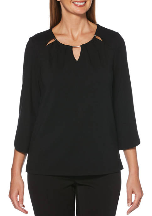 Rafaella Womens Tulip Sleeve Pleated Top with Hardware