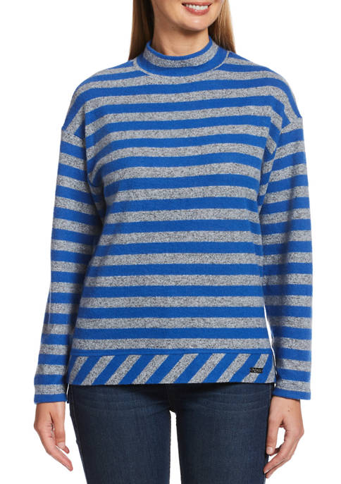Womens Long Sleeve Cozy Striped Mock Neck Sweater