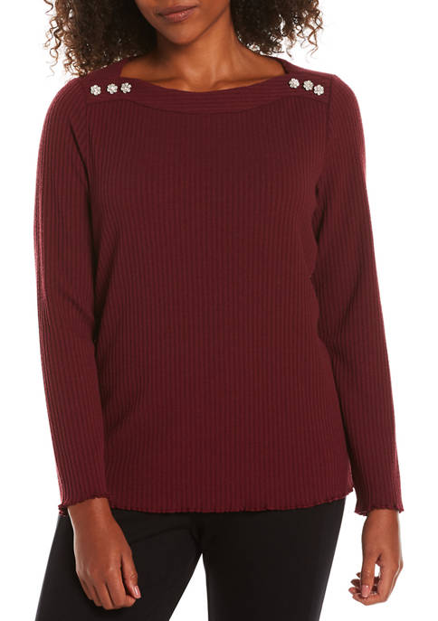 Womens Boat Neck Top with Jewel Buttons