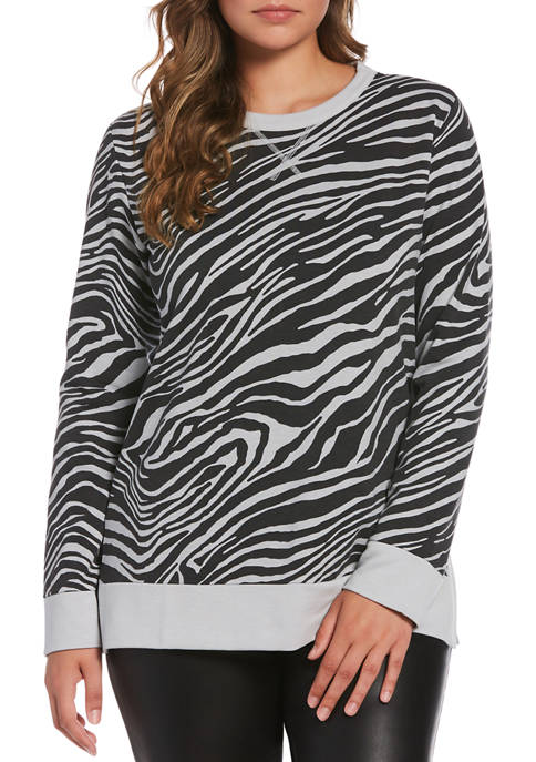 Rafaella Long Sleeve Zebra Print French Terry Sweatshirt