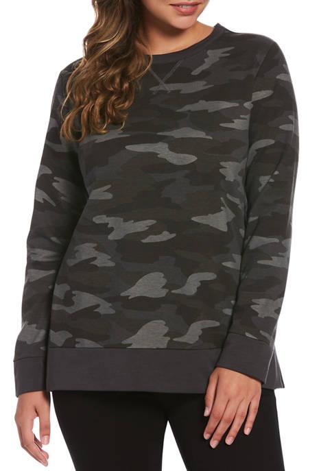 Rafaella Camo Long Sleeve Print Sweatshirt