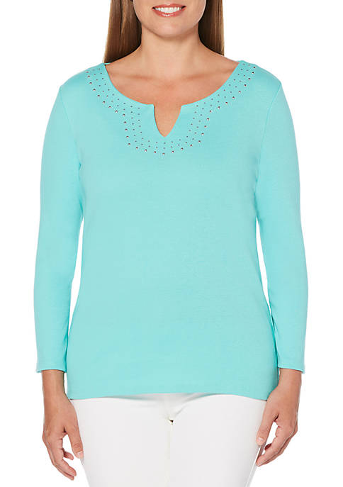 Rafaella Embellished Solid Knit Top