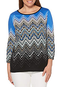 Rafaella Chevron Knit Tunic Top