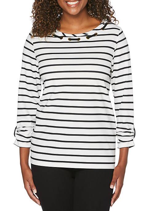 Rafaella Striped Knit Top