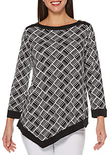 Rafaella Printed Asymmetrical Knit Tunic