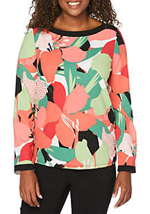 Rafaella Floral Framed Crepe Knit Top