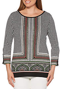 Rafaella Diamond Print Tunic Top