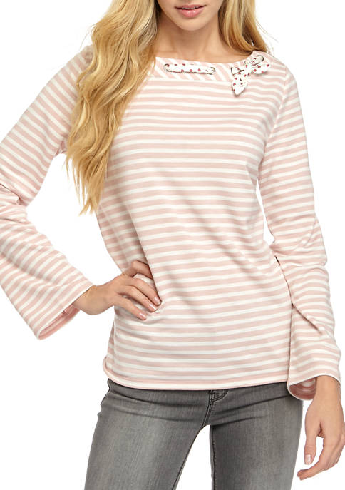 Womens Color Striped Boat Neck Top