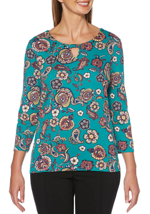 Rafaella Womens 3/4 Sleeve Paisley Floral Printed Top