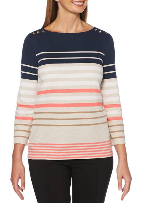 Rafaella Womens 3/4 Sleeve Stripe Top