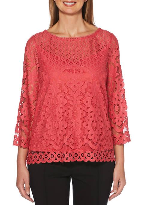 Rafaella Womens 3/4 Sleeve Lace Top