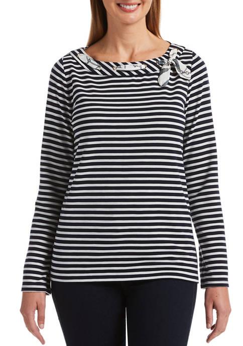 Rafaella Womens 2 Color Stripe Long Sleeve Boat