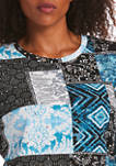 Womens Modal Patchwork Print Top
