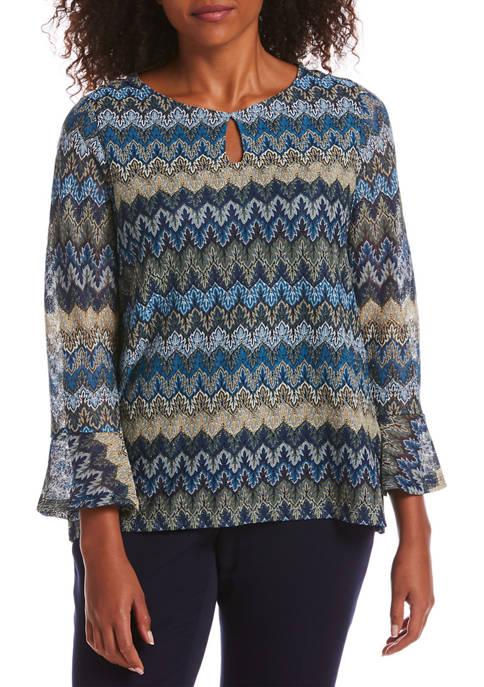 Womens Knit Bell Sleeve Top